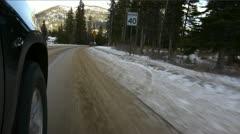 Driving POV on winter snowed road. Stock Footage