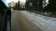Stock Video Footage of Driving POV on winter snowed road.
