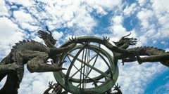 Chinese armillary sphere and sky,time lapse. Stock Footage