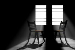 Two empty chairs in a darkened room Stock Illustration