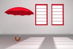 Red umbrella in a white room with windows Stock Illustration