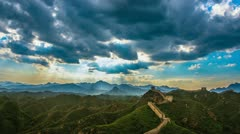 Great wall,sky,and landscape at sunset, time lapse Stock Footage