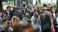 Borough market crowd milling about - stock footage