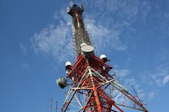 Modern Communications and Broadcast Tower Stock Photos
