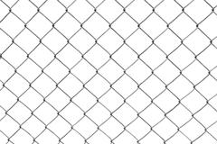chain-link fence isolated on white - stock photo