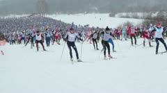 Thousands people skiing Stock Footage