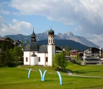 characteristic church in seefeld, austria - stock photo