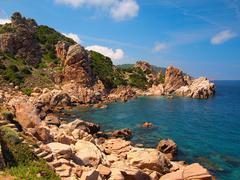 the rocky coast of sardinia - stock photo