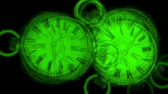 Green drawing  clock particle Stock Footage
