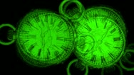 Stock Video Footage of green drawing  clock particle