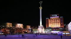 Kiev, Ukraine, Independence Square - timelapse 5 Stock Footage
