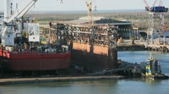 Ship in Dry dock Stock Footage