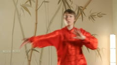 Female martial artists in the room Stock Footage