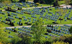 cemetery in sunset sun light - stock photo