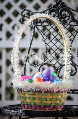 Stock photo of easter eggs basket