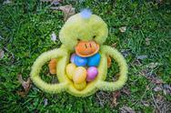 Easter duck basket Stock Photos