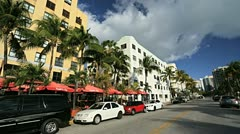 Art Deco District Restaurants on Ocean Drive, Miami,  Florida, USA Stock Footage