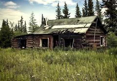 Abandoned Alaskan cabin - stock photo