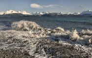 Splashing wave at Land's End Stock Photos