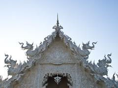 closeup of gable, wat rong khun at chiang rai, thailand - stock photo