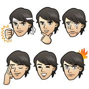 Handsome man emotion variation Stock Illustration