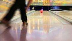 HD :  Professional bowling player hits last Pin Stock Footage