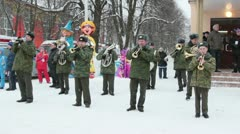 russian military orchestra - stock footage