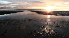 Flowing to the Sea at Sunset - stock footage