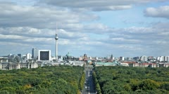 Day view of the central district of Berlin from an observation deck - stock footage