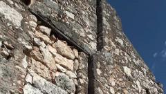 Wall of ruined house  sideways tilt Stock Footage