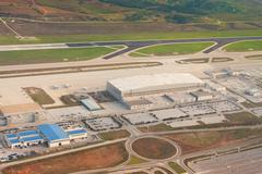 Aerial view of airport infrastructure in athens Stock Photos