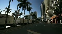 Point of view driving Biscayne Blvd, Miami, Florida, USA Stock Footage