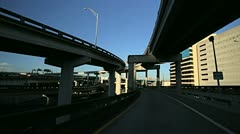 Stock Video Footage of P.O.V. driving flyovers elevated roads  Miami city, Florida, USA