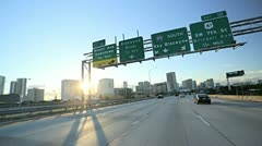 P.O.V. driving flyovers elevated roads  Miami city, Florida, USA Stock Footage