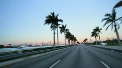 P.O.V. driving on MacArthur Causeway, Miami Stock Footage