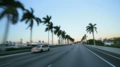 P.O.V. driving on MacArthur Causeway, Miami - stock footage