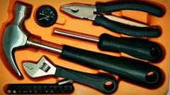 Tools box orange Stock Footage