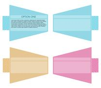 arrow without spike ticket label - three colors - stock illustration