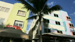 Ocean Drive South Beach Miami home to Art Deco hotels, USA Stock Footage