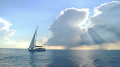Yacht and clouds shine. Part 1 - stock footage