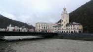 Stock Video Footage of Rosa Khutor, olypic villadge, Romanov bridge.