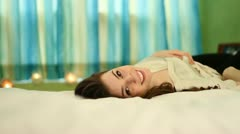 Jm1319 Woman On Bed Flirty Laughing Slow Angle Tracking Stock Footage
