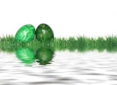 Stock Illustration of green easter eggs