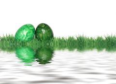 Stock Illustration of green easter eggs