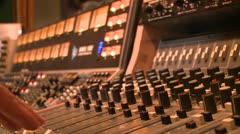 STUDIO ENGINEER AUDIO SOUND BOARD IN MUSIC RECORDING STUDIO HD 1080 Stock Footage