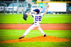 youth baseball pitcher - stock photo