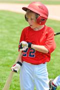 youth batter on deck - stock photo