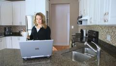 Young Woman Walking Into Her Kitchen - stock footage