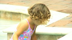 Pre School Toddler by Swimming Pool Stock Footage