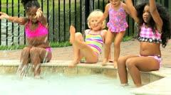 Multi Ethnic Girls Swimming Pool Stock Footage